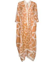 agave symbols maxi dress galajurk oranje rodebjer