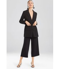 natori solid crepe belted blazer top, women's, size l