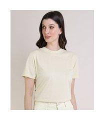 t-shirt feminina mindset básica manga curta decote redondo amarelo claro