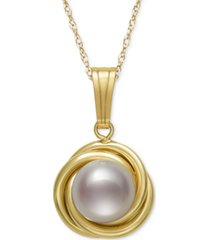 "18"" button cultured freshwater pearl love knot pendant pearl necklace in 14k gold"