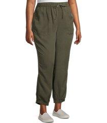 sanctuary women's plus tencel joggers - dark olive - size 2x (18-20)