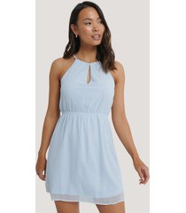 na-kd party halterneck chiffon mini dress - blue