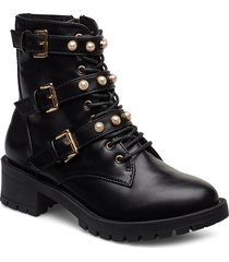 biapearl biker boot shoes boots ankle boots ankle boots flat heel svart bianco