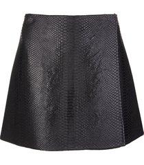 black wrap mini skirt with python effect