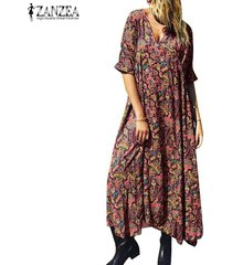 zanzea verano de las mujeres de bohemia de la playa vestido larga de las señoras con cuello en v vestidos maxis florales -rojo