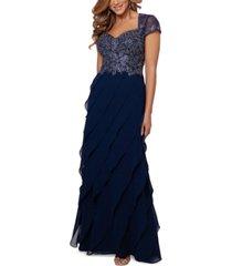 xscape embroidered-bodice ruffled-skirt dress
