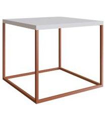 mesa para sala de estar artesano cube lateral 43cm branco