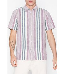 topman burgundy and stone woven stripe slim shirt skjortor stripes