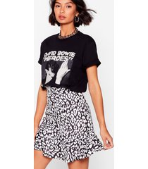 womens cat you see leopard mini skirt - black