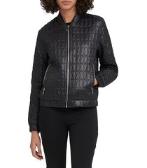 dkny women's quilted bomber jacket - red - size xl
