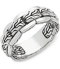 classic chain embossed sterling silver ring