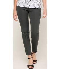 legging unicolor para mujer simulación botón y bolsillos en color negro negro 6