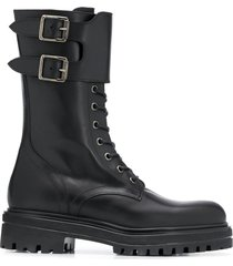 paul warmer double-buckle military boots - black