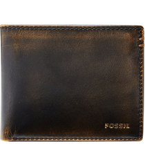 men's fossil wade leather wallet - black