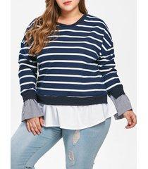 drop shoulder plus size striped t-shirt
