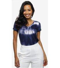 camiseta tie dye sob manga curta feminina - feminino