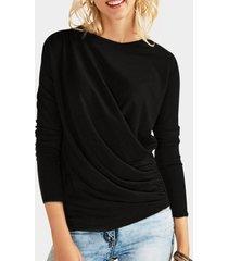 camisetas de manga larga con cuello redondo liso con diseño plisado negro