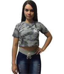 camiseta cropped skate eterno s/e camuflada - kanui