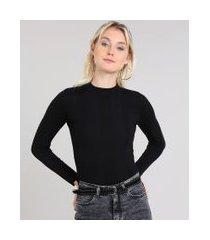 blusa feminina básica em tricô manga longa preta_1