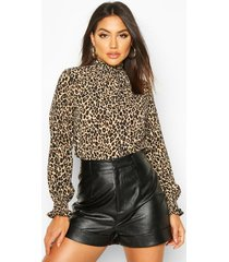 leopard print high neck sheered blouse, brown