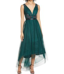 women's marchesa notte embellished tulle high/low gown, size 4 - green