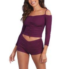 dreamgirl women's soft rib-knit jersey 2 piece sleepwear pajama top and shorts set