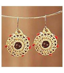 crocheted cotton dangle earrings, 'button basket' (india)