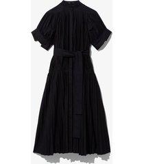 pleated poplin belted dress