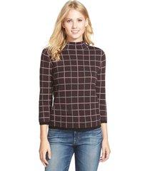 petite women's halogen windowpane print merino blend sweater, size x-small p - burgundy