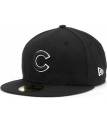 new era chicago cubs black and white fashion 59fifty cap