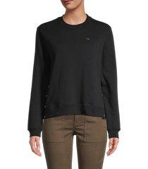 true religion women's snap cotton-blend sweatshirt - black - size s