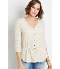 maurices womens solid button front tie waist top beige