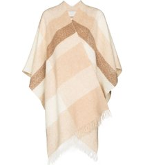 lauren manoogian jacquard panel scarf-style poncho - neutrals
