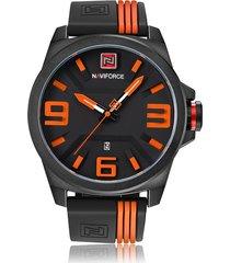 reloj hombre militar correa silicona naviforce 3d dial