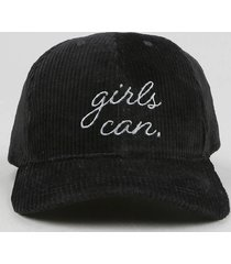 """boné feminino aba curva em veludo cotelê """"girls can"""" preto"""