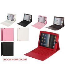 76 key leather bluetooth color case with keyboard stand for verizon att all ipad