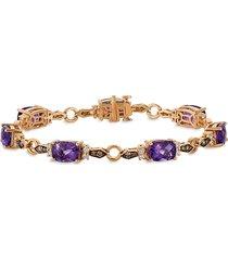 le vian women's chocolatier® 14k strawberry gold®, grape amethyst™, chocolate diamond® & vanilla diamond® bracelet