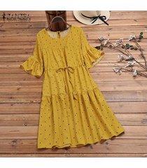 zanzea gradas del verano de las mujeres del lunar de vestido de tirantes retro más el tamaño de vestido calientes -amarillo