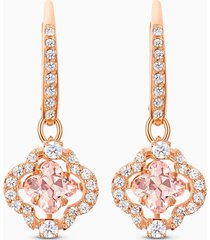 orecchini swarovski sparkling dance clover, rosa, placcato color oro rosa