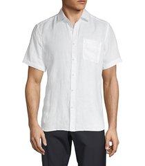 saks fifth avenue men's short-sleeve linen shirt - white - size s