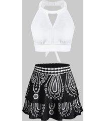 printed halter tie back tankini swimwear
