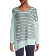 splendid women's striped asymmetric knit top - blue - size m