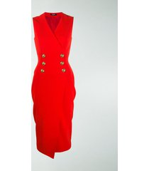 balmain sleeveless button-front dress