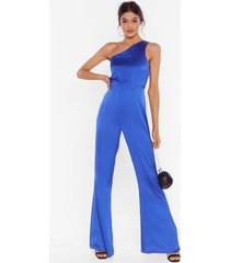 womens taking flare of business one shoulder jumpsuit - blue