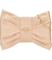 love moschino satin bow clutch - brown