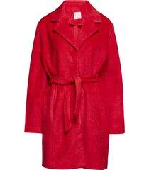 barbara wool wollen jas lange jas rood line of oslo