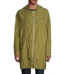 kenzo men's longline hooded jacket - khaki - size l