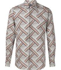 dolce & gabbana dotted cross-hatch print silk shirt - grey