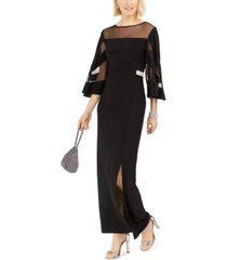 r & m richards illusion-panel gown
