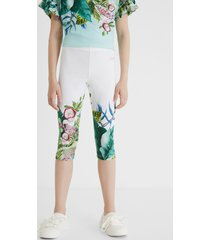 classic botanical capri leggings - white - xl